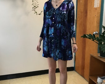 Vintage Moons and Stars Long Sleeve Babydoll Dress with Pockets