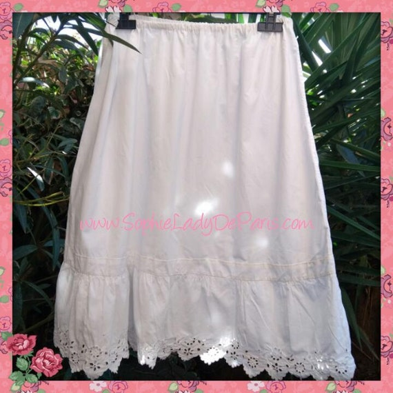 Long Victorian Petticoat Ruffled White French cotton Half Slip Handmade Clothing for Costumes  Medium Large #sophieladydeparis