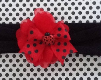 Floral Lady Bug Headband
