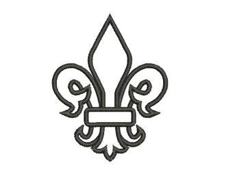 Applique Machine Embroidery Design Instant Download - Fleur De Lis 4