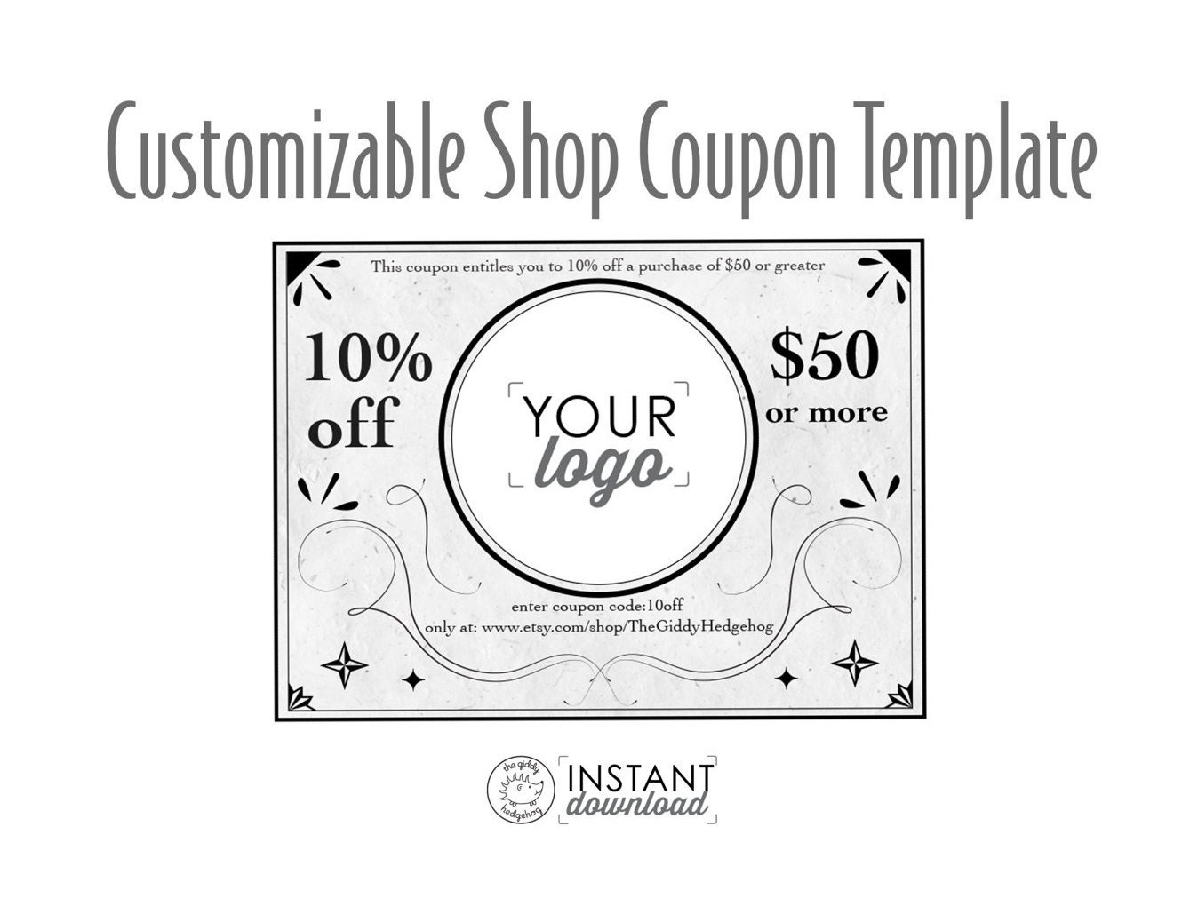 vintage style printable coupon personal coupon coupon template coupon code editable coupon. Black Bedroom Furniture Sets. Home Design Ideas