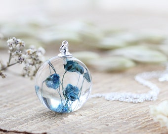 Pressed Flower Necklace - Blue Baby Breath , Gypsophila Necklace , Gift for Her , Bridal Jewellery , Something Blue , Resin Necklace