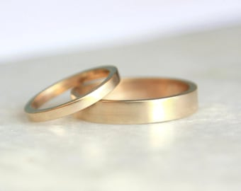 Gold Wedding Ring Set - 14k Gold Ring - His and Hers - Eco Friendly Recycled Gold - Matching Gold Wedding Rings