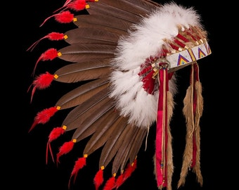"Plains style feather war bonnet / headdress ""Rainbow warrior"""