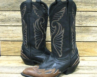 Laredo Ladies 8M Black & Brown Overlay Fancy Stitch Western Cowgirl Boots