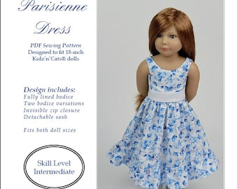 PDF Pattern #SS2016-02. Parisienne dress for 18-inch Kidz'n'Cats dolls.