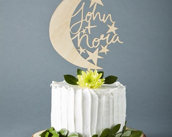 Cake Topper Custom Wedding - Moon and Stars Wedding Cake Topper - Wooden Cake Topper  - Hand-lettered Personalized Cake Topper