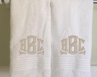 Monogrammed Applique Bath Towel  Bathroom White