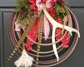 Western Lariat Antler Rope Breast Cancer Awareness Cowgirl Door Wreath