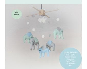 DIY Elephant Baby Mobile Pattern Nursery Decor Sewing