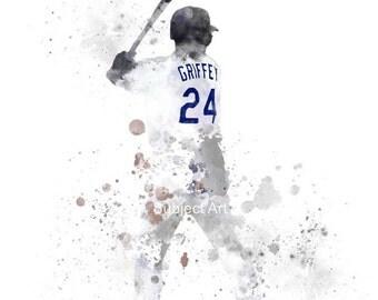 Ken Griffey Jr inspired ART PRINT illustration, Seattle Mariners, Baseball, Sport, Wall Art, Home Decor
