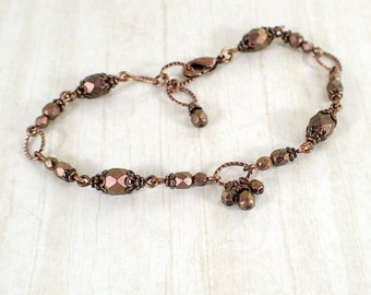 Dark Rosy Copper Czech Glass Beaded Bracelet with Textured Antiqued Copper Chain