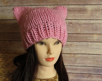 Light Pink Pussy Hat - READY TO SHIP - Pink Knit Cat Hat - Pussycat - Planned Parenthood - Womans Day - Car Ears Hat - Knit Winter Wear