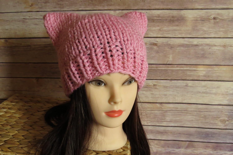87d0ba8ffbc Light Pink Pussy Hat - READY TO SHIP - Pink Knit Cat Hat - Pussycat ...