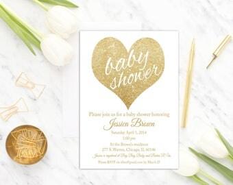 Gender Neutral baby shower invitation printable, White baby shower invitation, Gold baby shower invite, Heart, Gender Neutral Digital invite