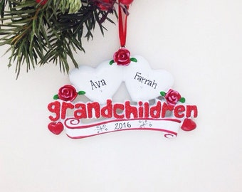 2 Grandchildren Personalized Christmas Ornament / Two Grandchildren / Grandparents Ornament / Grandfather / Grandmother