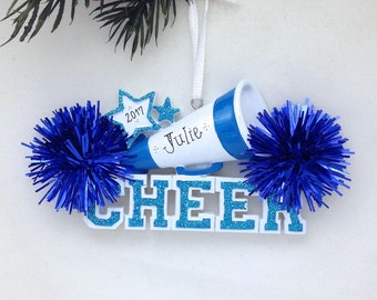 Cheerleader Christmas Ornament / Cheerleading Ornament Blue Pom Poms / Personalized Christmas Ornament / Cheer Team Ornament