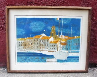 Vintage Framed Lithographr by French Artist Yves Ganne of Impressive Dutch Town with Sailboat in Habour and Hand Signed