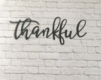 "22""x9"" thankful metal word sign - script raw metal cutout steel sign -3D word READY TO SHIP"