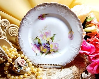 Antique Wheelock Porcelain // Plate with Tulips // Germany // Rare