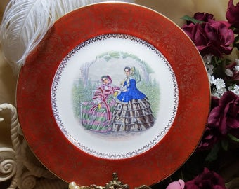 Vintage Salem China Co. Godey Victorian Ladies - Service Plates - 23K Gold Trim - Garden Scene