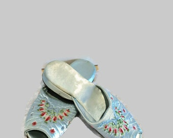 Vintage Satin Embroidered Slippers Slip On Pale Blue Pink Flowers