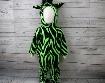Green Zebra Fleece Costume Size 12M