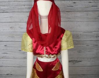 3 Piece Red & Gold Genie Costume Size 5/6