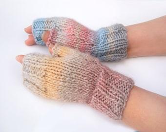 Handmade wool mittens Knitted fingerless gloves
