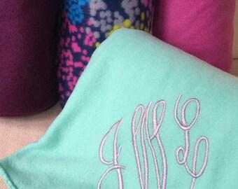 Monogrammed Fleece Blanket / Throw - Purple, Gray, Pink, Navy Multicolor