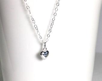 Tiny Heart Necklace Sterling Silver Dot Charm Silver Heart Tiny Silver Charm Dainty Necklace Heart Pendant Everyday Necklace