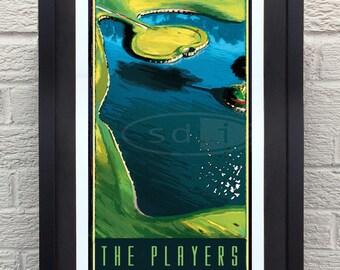 TPC Sawgrass Players Golf gift sports golf art poster print painting