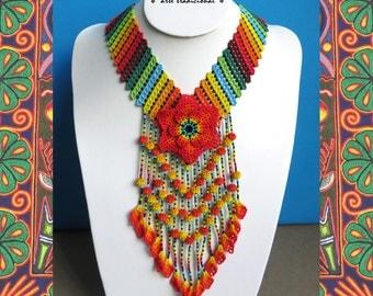 Mexican Huichol Beaded Orange Flower Necklace CFG-0071 Mexican necklace - Mexican Jewelry - Huichol Necklace - Huichol beadwork
