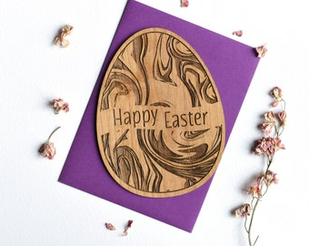 Easter Cards. Easter Egg with Marbled Effect Wood Card.