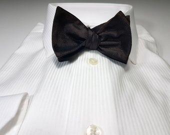 Silk SELF TIED Bow Tie in Dark Brown