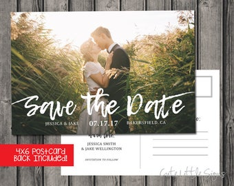 Save the Date Calligraphy Photo Postcard Digital Download