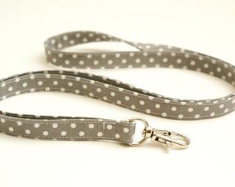 Gray Polka Dot Skinny Fabric Lanyard - Thin Lanyard with Swivel Clasp - 1/2 Inch Key Lanyard - 19.5 Inch Drop - Long Strap - Teacher Lanyard