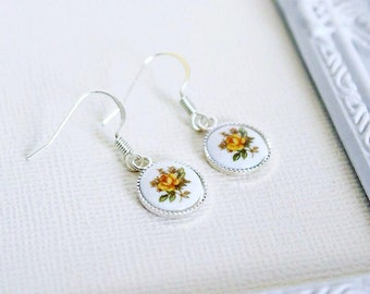 Vintage Yellow Rose Cameo Earrings
