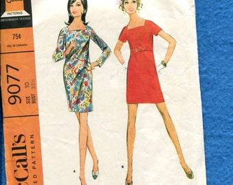 1960's McCall's 9077 Mini Mod Dress with Square Neckline Size 10