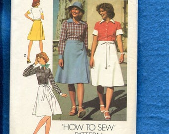 1970's Simplicity 7331 Retro Wrap Skirt & Pointed Collar Shirt Size 16