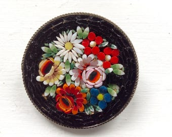 Vintage Micro Mosaic Brooch Black with Vibrant Roses Daisies Made in Italy