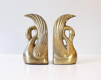 Vintage Brass Swan Bookends Mid Century Hollywood Regency