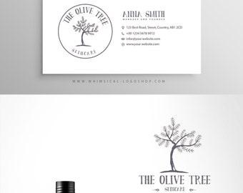 Logo + businesscard package sketchy olive tree branding Simple Elegant Sticker design skincare soap branding kit circle logo olive tree oil