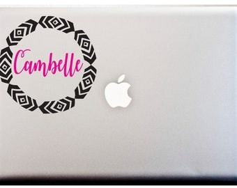 BOHO PRINT Personalized Name Decal Frame 6 inch Circle Monogram Decal Sticker Vinyl Car Decal