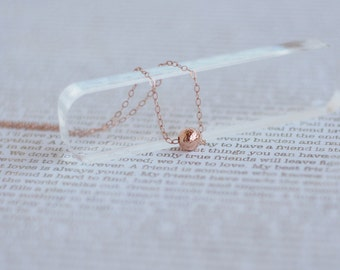 Tiny Ball Necklace, Delicate Rose Gold Necklace