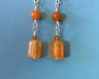 Adventurine Carnelian Earrings