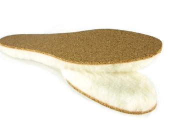 Portuguese Thick Sheepskin Lambswool Insoles Liners Vegetable Tanned Cork Base