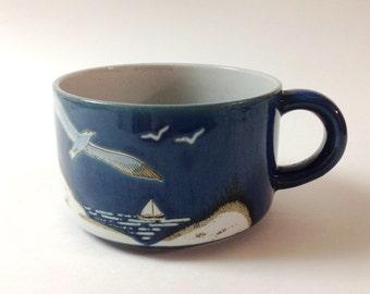 Vintage Otagiri Seagull, Seashore Soup Mug, Bowl, 1980s, Japanese Stoneware Beach, Seagull Handled Soup Mug