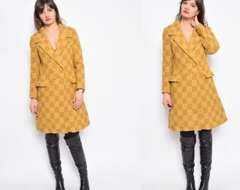 Vintage 80's Yellow Checkered Wool Coat / Checked Wool Button Coat - Size Medium