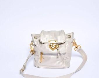 Vintage 90's White Champaign Real Leather Mini Bag/Shoulder Bag with Gold Metal Details